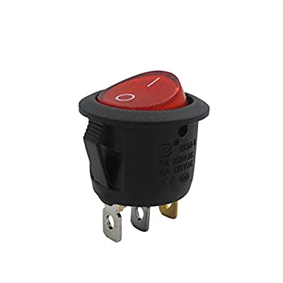 mxuteuk 5pcs AC110V Red Light Illuminated Snap-in Round Boat Rocker Switch Toggle Power SPST ON-Off 3 Pin AC 250V 6A 125V 10A, Use for Car Auto Boat Household Appliances 1 Years Warranty MXU1-5-101NR: Industrial & Scientific