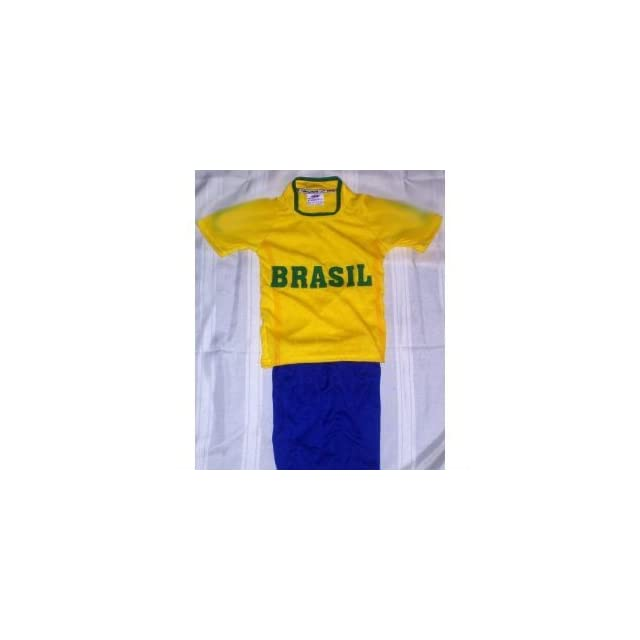 2010 south africa world cup fifa childrens, boys, girls, & KIDS BRAZIL BRASIL SOCCER SET SIZE 10 (FOR AGES 7 & 8) JERSEY AND SHORTS