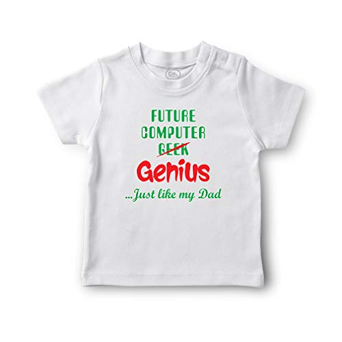 Future Computer Geek Genius. Just Like My Dad Short Sleeve Crewneck Toddler Boys-Girls Cotton T-Shirt Jersey - White, 12 Months