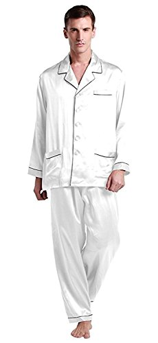 LilySilk Men 22 Momme Long Silk Pajamas Set Contrast Trim Real Mulberry Loungewear Soft Luxury 100% Pure Silk White XXXL
