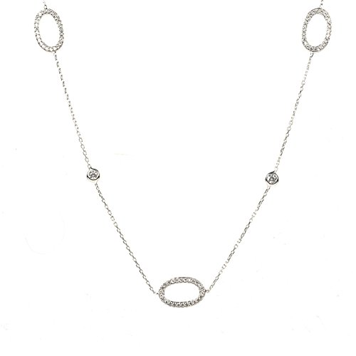 Necklace Long Hollow Oval Silver
