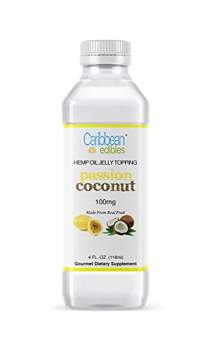 Fruit Chill Flavor - Caribbean Edibles, Passion Fruit Infused Coconut Jelly - Full Spectrum Hemp Oil Topping - Dietary Supplement, Organic Passion Coconut Flavor - Grown and Bottled in USA - Island Chill Formula
