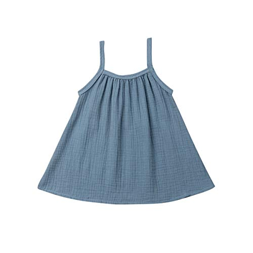 - Infant Toddler Girls Summer Outfit Halter Sleeveless Solid Color Linen Cotton Dress Sundress Tank Tops Baby Minimalist Clothes (Blue, 1-2 Years)