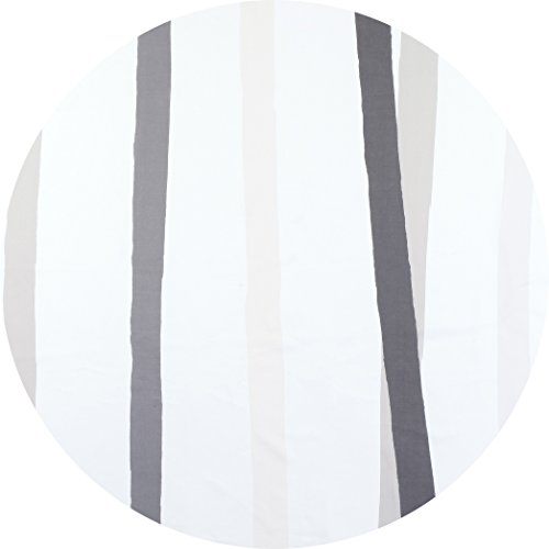 (Huddleson Cinta Grey & White Stripe Pure Linen Tablecloth 90 Round)