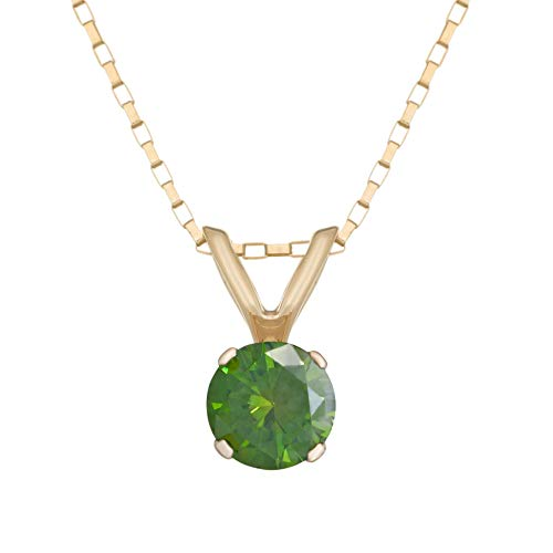 14K Yellow Gold Green Round Diamond .25 cttw Solitaire Pendant Necklace on 18