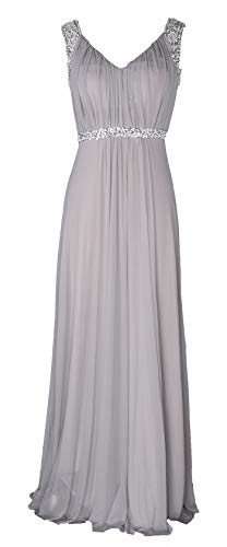 Conail Coco Women's Tulle Beading A-Line Bridesmaid Prom Dresses Long Cocktail Evening Gowns (S,98grey) (Evening Long Cocktail)