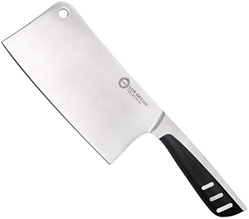 7 Inch Stainless Steel Meat Cleaver - Butcher Knife - Chopper - For Home Kitchen and Restaurant - High Carbon Stainless Steel - By Lux Décor Collection
