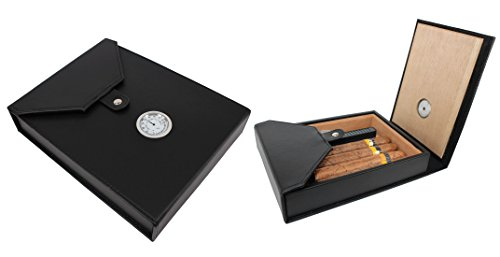 AMANCY Beautiful 5-10 Capacity Cedar Wood Lined leather Portable Travel Cigar Humidor Case ,Easily Carry Anywhere Leather Humidor