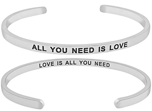 ''All You Need is Love, Love is All You Need'' Mantra Quote Engraved Cuff Positive Message Bracelet, Jewelry Gifts for Women (Silver Tone) ()