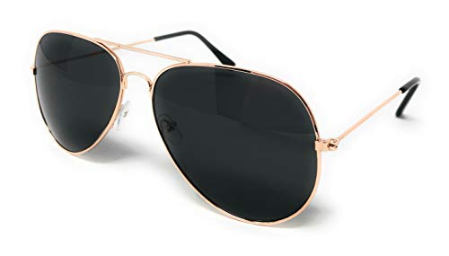 WebDeals - Aviator Silver Mirror or Color Mirror Metal Frame Sunglasses ... (Gold Frame, Smoke Black)