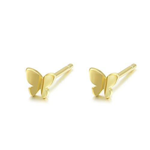 - Bigbabybig Butterfly Stud Earrings Women Real 925 Sterling Silver Gold Girls Tiny
