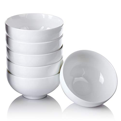 Alt-GT 12 Ounce Porcelain Small Asian Bowls for Rice Soup Cereal Dessert Snack Ice Cream Fruits Sauce Dip Serving Ceramic Bowl with Microwave and Dishwash Safe- Set of 6, White ()