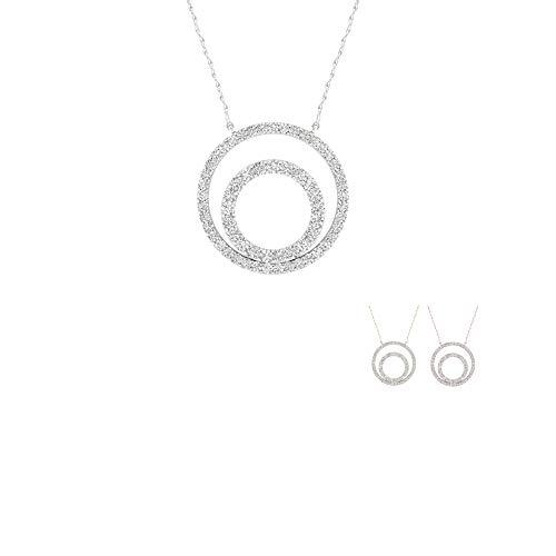 - IGI Certified 10K Rose Gold 1/4Ct TDW Diamond Double Frame Circle Necklace(I-J,I2)