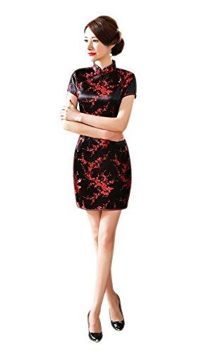 ACVIP Women's Cherry Brocade Short Sleeves Mini Bodycon Chinese Qipao Dress (0, black-01)