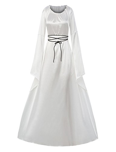 Long White Dress Costume (Taoliyuan Women Medieval Renaissance Retro Gown Cosplay Costume Dress (XX-Large, White))