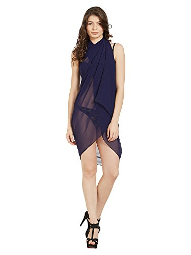 ELINA FASHION Sarongs Womens Faux Georgette Sexy Swimsuit Beach Bath Wrap Cover-up (Navy Blue)