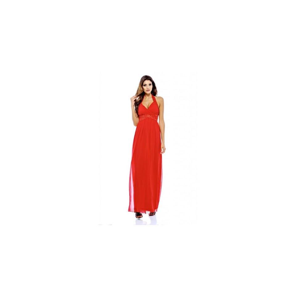 AxParis Women's Halter Neck Jewelled Maxi Dress