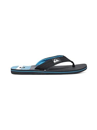Quiksilver Men's Molokai Layback Flip Flop, Black/White/Blue, 13 M US