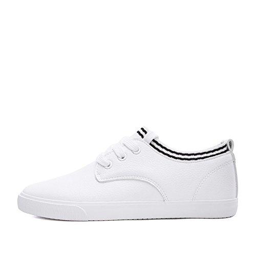 bianche signora scarpe profonde a DHG punta rotonda primavera dolce bianca nastro Scarpe scarpe bellezza scarpe piatte 37 carina BHxq4X0