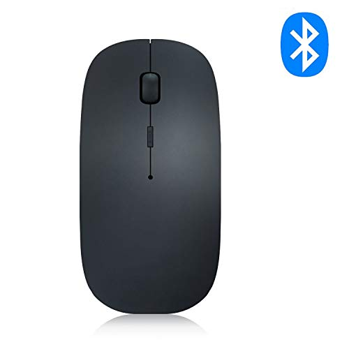Bluetooth Wireless Mouse, DEKEAN Slim Rechargeable 3 Adjustable DPI Level for Notebook, PC, Mac, Laptop, Computer,Windows/Android Tablet -Black (Black)