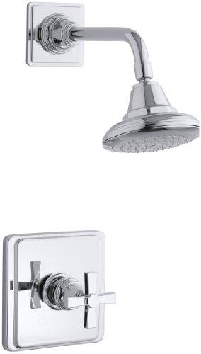 KOHLER K-T13134-3A-CP Pinstripe Pure Rite-Temp Pressure-Balancing Shower Faucet Trim, Polished Chrome