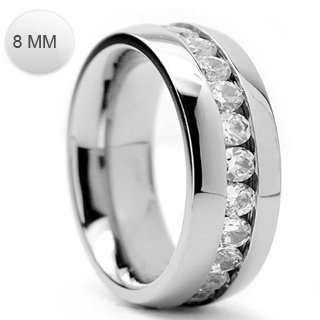 Stainless Steel Classy Eternity Ring with Centered Multi Simulated Diamond on Channel Setting Comfort-Fit Band, Width 8MM - Crazy2Shop