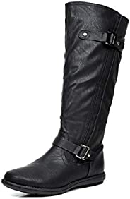 DREAM PAIRS Summit/Trace Fashion Dual Buckles Faux Fur-Lined Knee Hight Winter Boots (Wide-Calf Available)