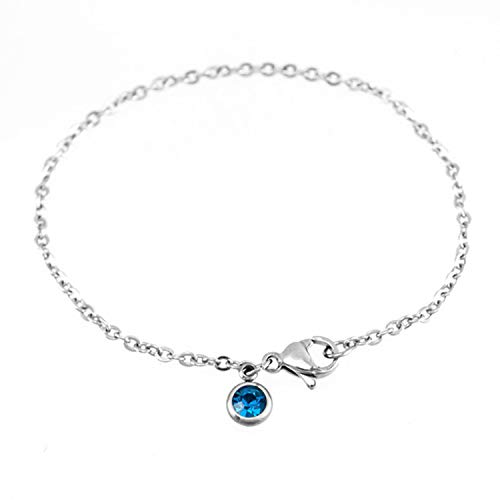 Tea language 2019 New Zodiac Birth Lucky Stone Women Bracelet Stainless Steel Rolo Chain Fashion Bangle,Apr,17cm