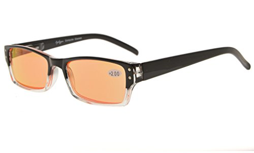 Eyekepper Spring Hinge Two-Tone Color Computer Glasses Readers Reading Glasses (Orange Tinted Lenses, Black-Clear) +1.0