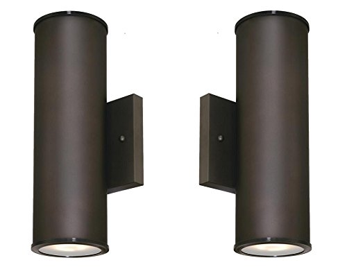 Westinghouse 6315700 Mayslick Two-Light LED Up and Down Light Outdoor Wall Fixture with Frosted Glass Lens, Oil Rubbed Bronze (2 Pack) by W
