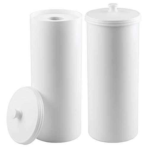 mDesign Plastic Free Standing Toilet Paper Holder Canister - Storage for 3 Extra Rolls of Toilet Tissue - for Bathroom/Powder Room - Holds Mega Rolls - 2 Pack - White