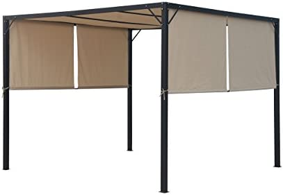 Christopher Knight Home 304392 Wendy Outdoor Steel Framed 10 Gazebo, Beige Black
