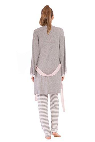 Olian ''Anne'' Nursing Stripe Cami/Pajama Set with Baby Gown, Grey Stripes, Large by Olian (Image #3)