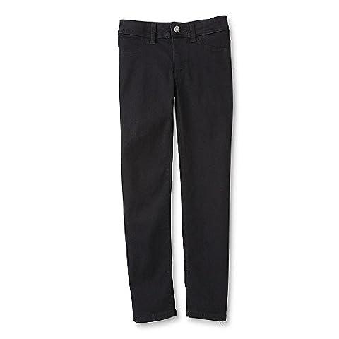 Roebuck & Co. Big Girls' Jeggings / Skinny Jeans / Jean Leggings with Adjustable Elastic Waist (10, - Co Black Denim