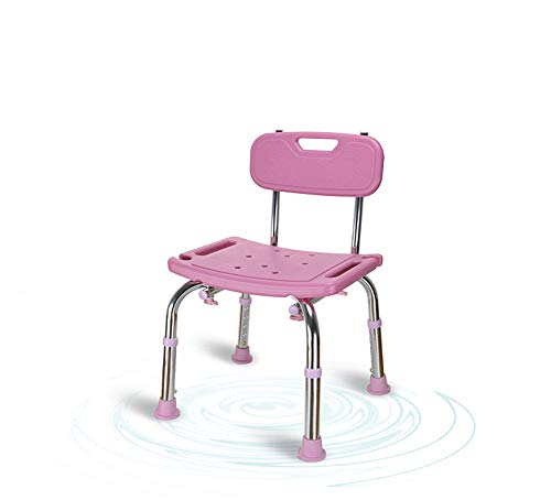 (Do4U Spa Bathtub Adjustable Shower Chair Seat Bench with Removable Back (with Back, Pink))
