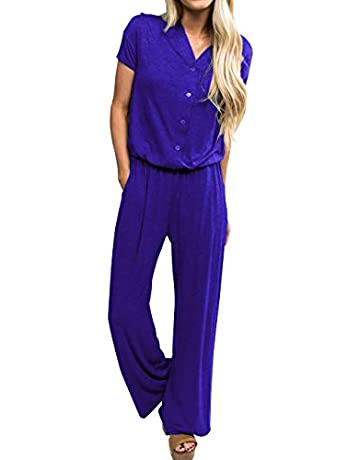 5b3c9c91a1 sullcom Women's Summer Short Sleeve V Neck Stretchy Wide Legs Long Pant  Jumpsuits Rompers with Pockets
