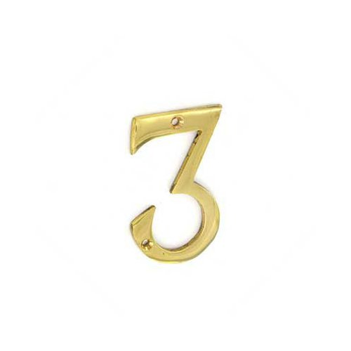 Securit 75MM POLISHED BRASS NUMERAL NO 3 DOOR FLAT NUMBER S2503