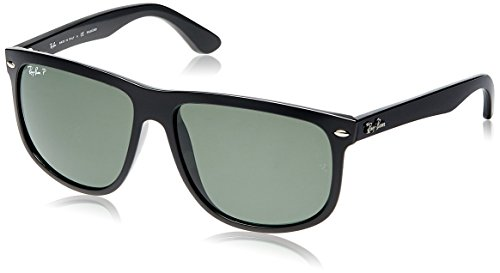 Ray-Ban RB4147 Boyfriend Square Sunglasses, Black/Polarized Green, 60 mm (Ray Ban Square)