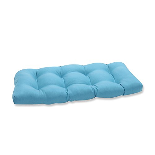 Pillow Perfect Outdoor Veranda Turquoise Wicker Loveseat Cushion