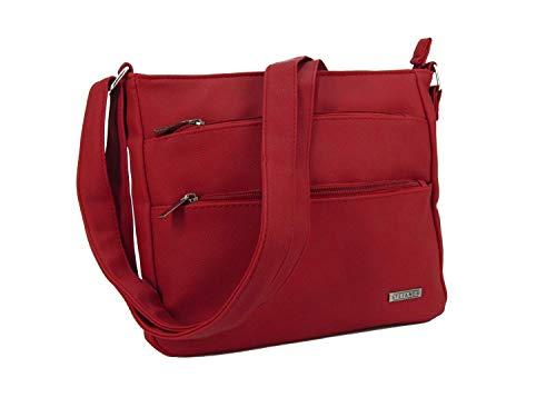 STEFANO Damen Umhängetasche Schultertasche Frauen Handtasche Soft PU Verschiedene Modelle (M1- Rot)
