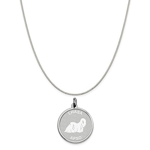 - Mireval Sterling Silver Lhasa Apso Disc Charm on a Sterling Silver Carded Box Chain Necklace, 18