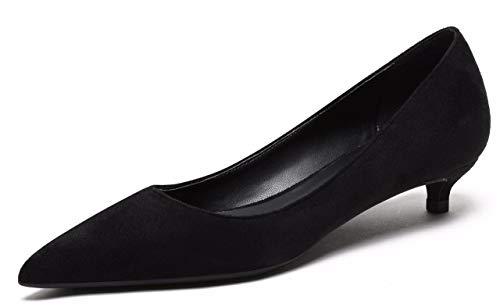 Women's Comfor Classic Slip On Closed Toe Dress Shoes Low Heel Pumps Wedding Shoes Black Faux Suede Size US8.5 EU41