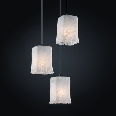 Justice Design GLA-8864-26-WHTW-NCKL Veneto Luce - Three Light Small Cluster Pendant, Glass Options: WHTW: Whitewash Glass Shade, Choose Finish: Brushed Nickel Finish, Choose Lamping Option: Standard Lamping Veneto Luce Multi Light