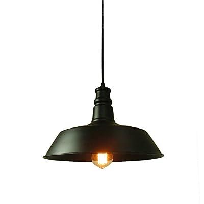 Lightess 1-light Industrial Barn Edison Metal Pendant Lighting with Black Shade for Warehouse