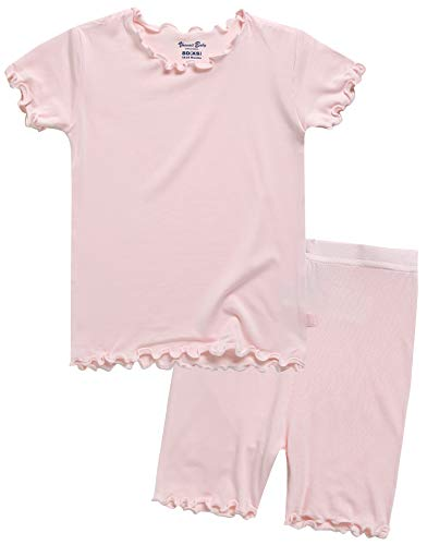 Girls Short Sleeve Sleepwear Pajamas 2pcs Set Shirring Pink XS