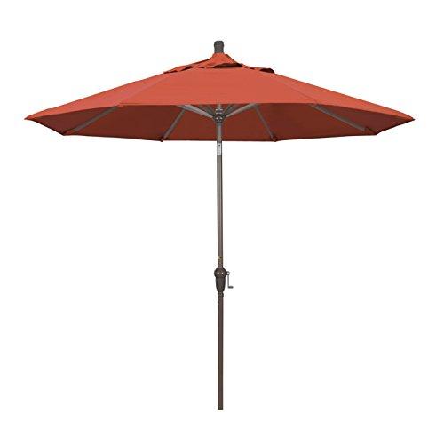 California Umbrella 9-Feet Olefin Fabric Aluminum Auto Tilt Market Umbrella with Champagne Pole, Sunset Orange