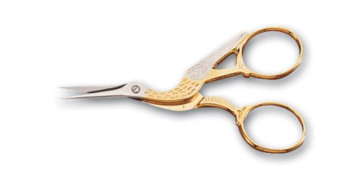 Mundial 3-1/2-Inch Classic Forged Stork Embroidery Scissors, Gold Plated (Stork Embroidery Scissors)