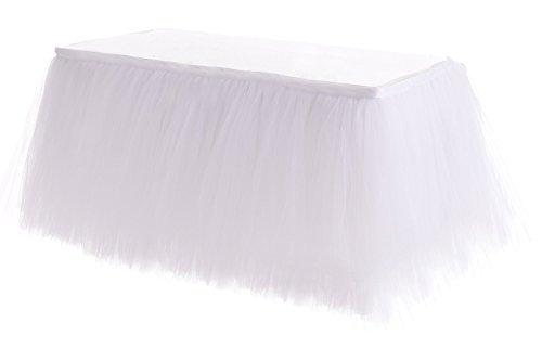 Skirt Paper (HB HBB MAGIC 4ft White Tulle Table Skirt Tutu Table Skirts Wedding Birthday Baby Shower Party Table Skirting)