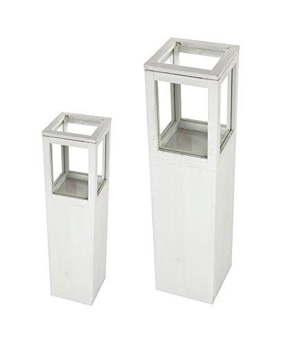 Windlicht-Säule mit Glaskorpus 2er Set klein und groß weiß