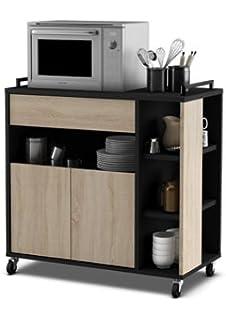mueble de cocina auxiliar para microondas en color negro y roble xcm